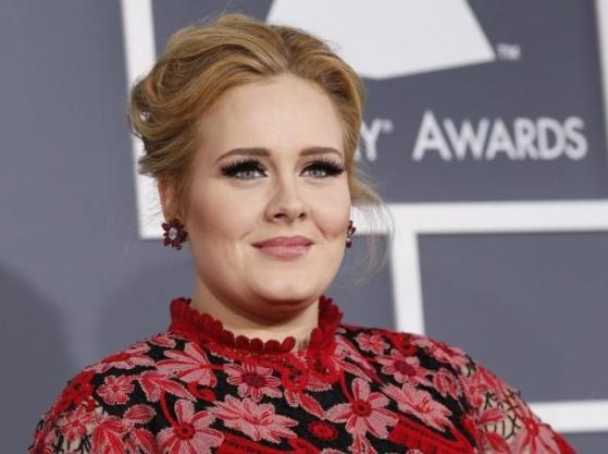 Singer Adele arrives at the 55th annual Grammy Awards in Los Angeles